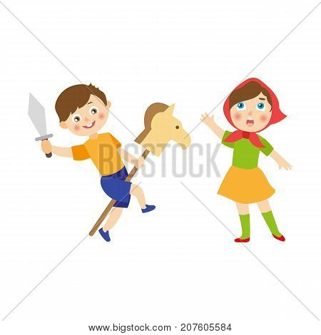 vector flat cartoon children at summer camp concept. Boy playing with wooden horse and toy sword, girl in ethnic clothing singing or acting in play. Isolated illustration on a white background.