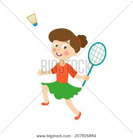 vector flat cartoon children at summer camp concept. Girl playing badminton, shuttlecock holding rackets. Isolated illustration on a white background.