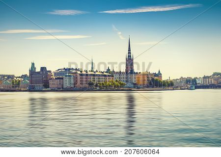 Scenic view of the Old Town or Gamla Stan in Stockholm Sweden vintage effect