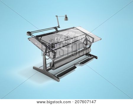 Electronic Culm Drawing Drawing 3D Rendering On Blue Background