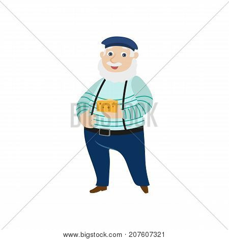 vector flat cartoon man with grey mustache and beard holding cheese wearing felt beret, pants on suspenders. French parisian style male portrait full length. Isolated illustration ona white background