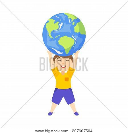 Vector save the planet concept. Flat cartoon happy boy kid lifting earth globe planet high by his hands smiling. Isolated illustration on a white background.