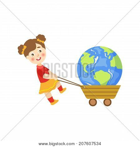 Vector save the planet concept. Flat cartoon happy girl kid pulling earth globe planet in cart smiling. Isolated illustration on a white background.