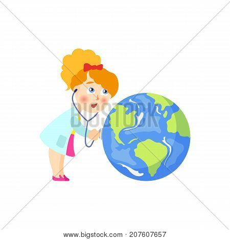 Vector save the planet concept. Flat cartoon girl doctor anxious holding stethoscope examining lungs of earth globe planet. Isolated illustration on a white background.
