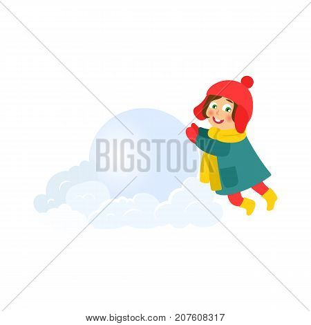 vector girl having fun with snow outdoors. Flat cartoon isolated illustration on a white background. Kid makes big snowball smiling. Winter children activity concept