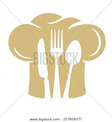 Chef hat silhouette with fork knife, spoon. Vector