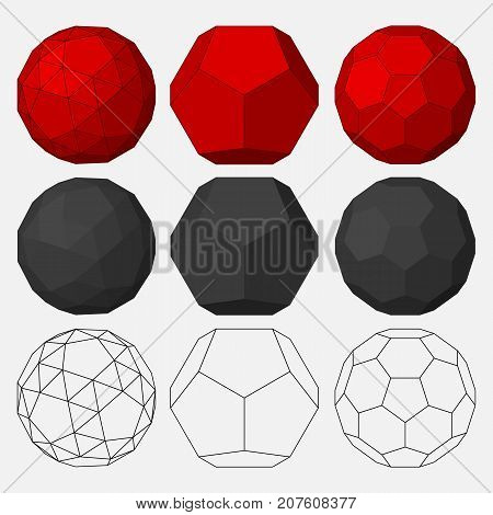 Set of three-dimensional geometric figures. Dodecahedron. Snub dodecahedron. Truncated icosahedron. Vector illustration.