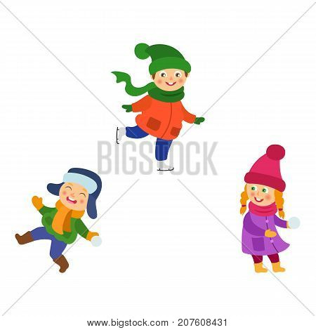 Kids, children winter activities - playing snowballs, ice scating, having fun, cartoon vector illustration isolated on white background. Kids, children enjoying winter, playing snowball, ice skating