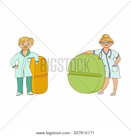 vector flat cartoon male female doctor nurce in green medical clothing holding huge big pill drug. Adult man, woman character set. Isolated illustration on a white background.