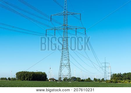 Electric pylons and power transmission lines seen in Germany