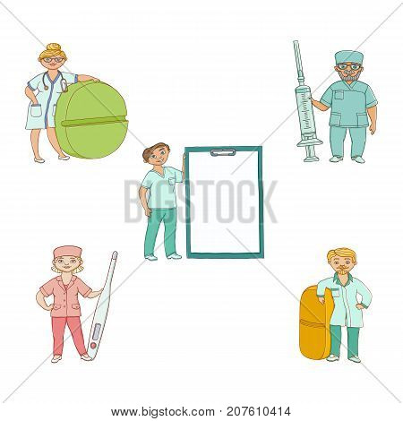 Doctors, therapists with giant syringe, pill, thermometer, medical card, flat cartoon vector illustration isolated on white background. Cartoon doctors with huge, giant medical objects, stuff