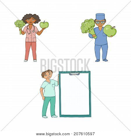Doctors with giant apple, broccoli and medical card, health care concept, flat cartoon vector illustration isolated on white background. Cartoon doctors with giant apple, broccoli and medical chart