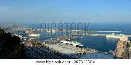 BARCELONA - JUN. 11, 2013: aerial view of Port of Barcelona panorama from Montjuic, Barcelona, Catalonia, Spain.