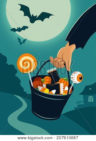 Vector flat illustration of person's hand carrying a trick-or-treat bucket full of Halloween candy on a background of night landscape with trees and house in a distance full moon flying bats.