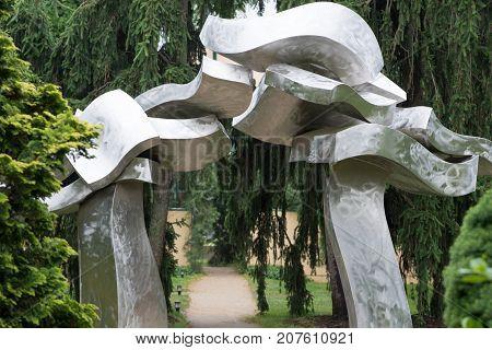 TRENTON, NJ - JUNE 17, 2017: View of Sagg Portal by Hans Van de Bovenkamp at Grounds for Sculpture