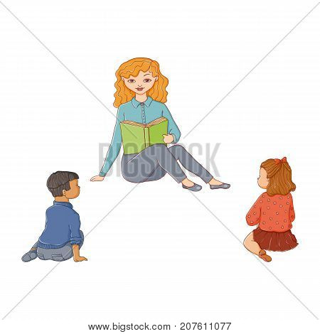 vector flat children - boy and girl sitting around young woman with book - teacher and listening to her attentively with interest. Isolated illustration on a white background. Kindergarten concept