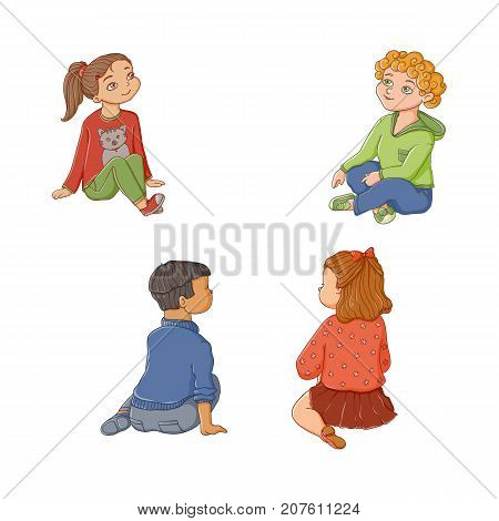 Kindergarten, preschool kids, children, boys and girls sitting on the floor, flat cartoon vector illustration isolated on white background. Kids, children sitting on the floor, Front and back view