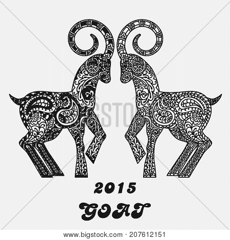 Patterned two goats - a symbol of new 2015. Black and white concept for a card. Vector illustration.