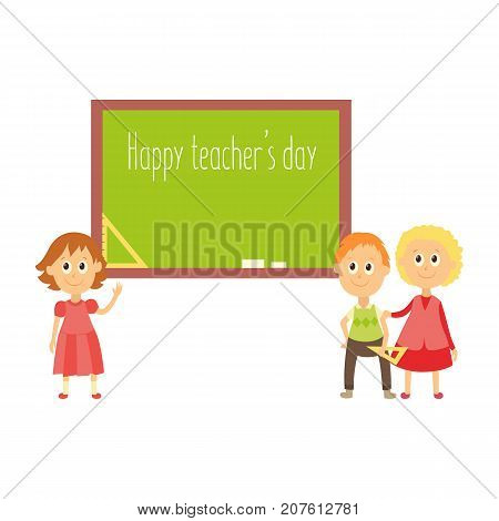 School children standing at blackboard, happy teacher day greeting card template, flat cartoon vector illustration isolated on white background. School children, kids standing at blackboard