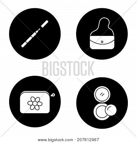 Cosmetics glyph icons set. Eyeliner, purse, cosmetic bag, rouge. Vector white silhouettes illustrations in black circles