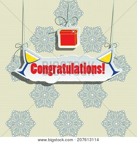 Message New Year's surprise greeting. For the design of the banner cover or invitation. Vector illustration.
