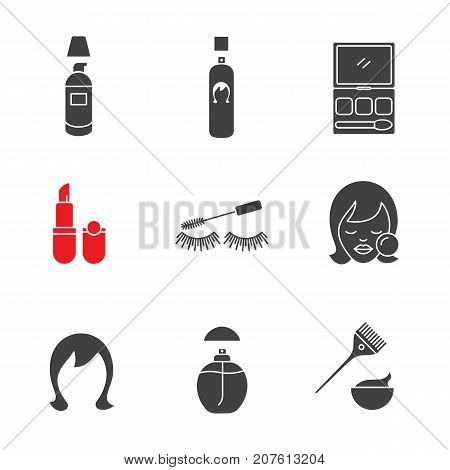 Cosmetics accessories glyph icons set. Foundation cream, hair spray, makeup kit, lipstick, mascara, woman's face, wig, perfume. Silhouette symbols. Vector isolated illustration