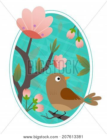Cute bird standing on a blooming branch. Eps10