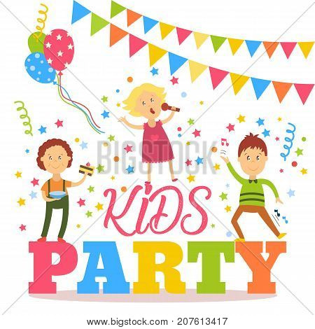 Kids party banner, poster with children signing, dancing, eating birthday cake, flat cartoon vector illustration isolated on white background. Flat cartoon style kid party banner, poster, invitation