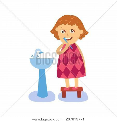 vector flat cartoon girl kid making everyday routine hygiene standing at stand near blue sink washbasin. Child character going to wash hands, brush teeth. Isolated illustration on a white background