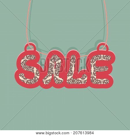 Vintage message for Christmas sale. For the design of the banner cover or invitation. Vector illustration.
