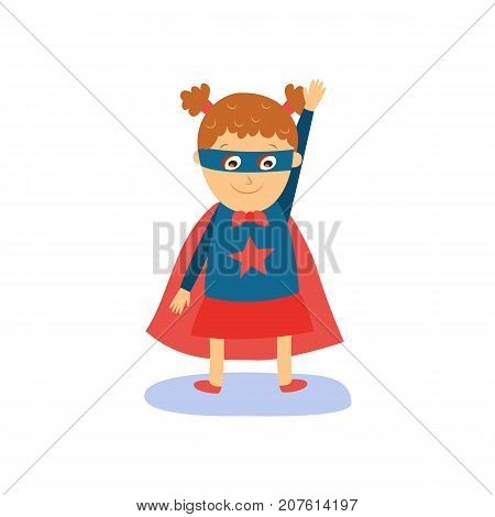Little girl in superhero costume, red cape and eye mask, flat, comic style cartoon vector illustration isolated on white background. Flat cartoon little girl in superhero costume
