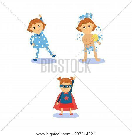 Superhero girl doing morning routines - exercise, shower, dressing, flat cartoon vector illustration isolated on white background. Girl doing morning exercises, washing, wearing Superhero costume