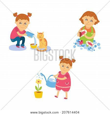 Little girl doing housework - watering pot flower, washing dishes, feeding cat, flat, comic style cartoon vector illustration isolated on white background. Flat cartoon little girl doing housework
