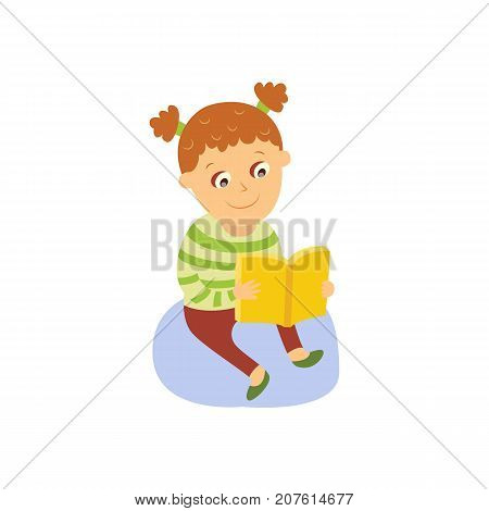 Little girl reading a book, sitting on the floor, flat, comic style cartoon vector illustration isolated on white background. Cartoon little girl sitting on the floor with thick book, reading