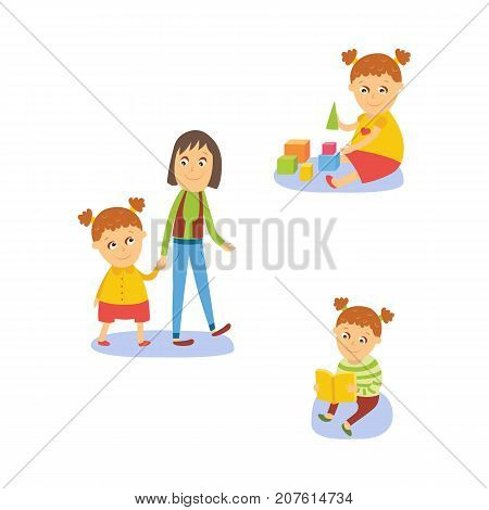 Little girl reading book, playing with toys, walking with mom, flat, comic style cartoon vector illustration isolated on white background. Cartoon little girl reading, playing, spending time with mom