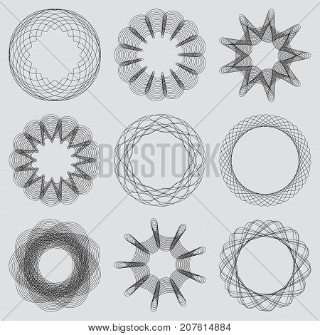 Set of guilloche frames. Spirographic pattern for watermarks and borders for design certificates vouchers banknotes cards and invitations. Vector illustration.