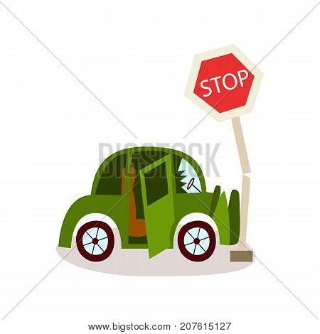 vector flat cartoon car accident. Green vehicle crashed into stop road sign and cracked front bumper and windshield. Isolated illustration on a white background.