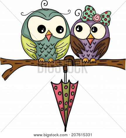 Scalable vectorial image representing a cute couple owl with umbrella on branch, isolated on white.