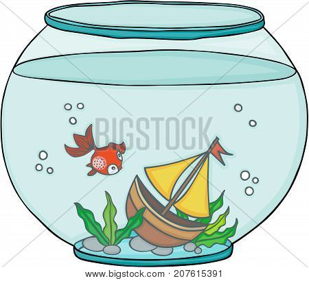 Scalable vectorial image representing a globe aquarium with red fish and boat, isolated on white.