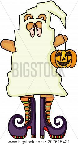 Scalable vectorial image representing a Halloween ghost teddy bear with witches boots, isolated on white.