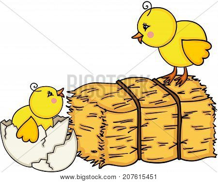 Scalable vectorial image representing a little chicks with bale of hay, isolated on white.
