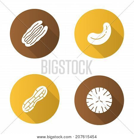 Nuts flat design long shadow glyph icons set. Cashew and pecan nuts, peanut, nutmeg. Vector silhouette illustration