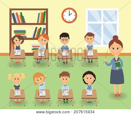 Lesson in elementary, primary school, kids studying and teacher teaching the class, flat cartoon vector illustration. Teacher teaching kids in classroom, elementary, primary school