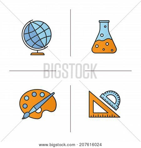 Education color icons set. Geography, chemistry, art, geometry symbols. School rulers, chemical reaction, palette with brush, globe. Isolated vector illustrations