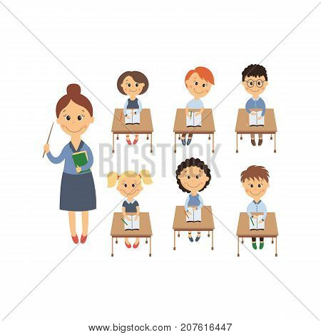 vector flat cartoon cute schoolkid character sitting at desk in elementary school smiling, teacher with pointer set. Isolated illustration on a white background. Child education back to school concept