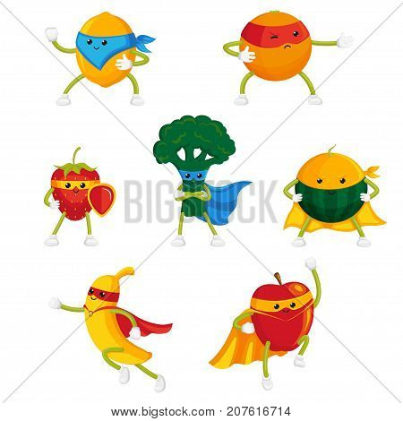 Funny fruit and berry hero, superhero characters in capes and masks, set of flat style cartoon vector illustrations isolated on white background. Funny fruit and berry hero, superhero characters