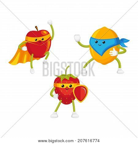 vector flat cartoon funny fruit, berry character in masks set. Lemon standing like ninja, strawberry keeps shield in hand, apple flying like superhero . Isolated illustration on a white background.