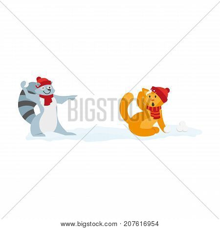 vector flat cartoon cat and raccoon characters playing ice balls smiling wearing scarf, hat. Winter animal outdoor games, activities concept. Isolated illustration on a white background