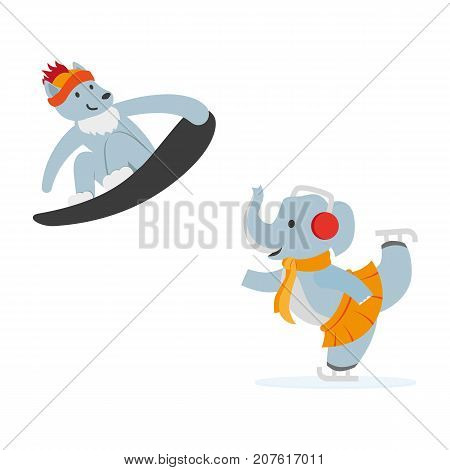 vector flat cartoon funny wolf character snowboarding, elephant ice-skiing smiling wearing cap. Winter animal outdoor games, activities concept. Isolated illustration on a white background