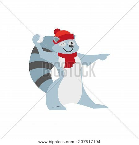 Cute little raccoon character playing, throwing, aiming snowball, winter activity, cartoon vector illustration isolated on white background. Little baby raccoon character playing snowballs